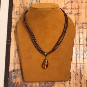 Accessories - Brown leather cord necklace with stone!